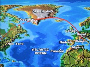 Levo: Zaradi izbruha pepela, ki ga je nosilo od vulkana proti jugu, smo se temu izognili tako, da smo leteli daleč na sever čez Grenlandijo. Ivanuša za Nabvdihni.me by Insights d.o.o.